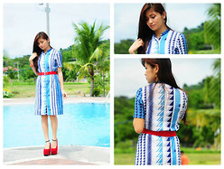 Chabby Le Requin - Red Wedge, Blue Aztec Dress - Bluer than Blue