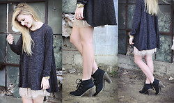 Susie Gibson - C/O Nowistyle Slouchy Sweater, Target Watch, Forever 21 Lace Detail Skirt, Urban Outfitters Black Heeled Booties - Gunshot