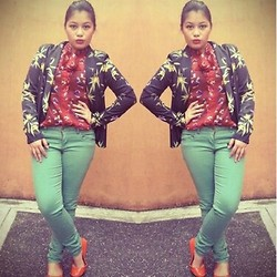 Raffi Alcantara - H&M Printed Blazer, Forever 21 Colored Jeans, Sole Divas Purse Shoes Flats - ♥ Primadonna Girl ♥