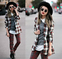 KENDALL SANCHÈZ - Thrift Hat, Sunglasses, Collared Shirt, Thrift Blazer, Boots - .Mad For Plaid.