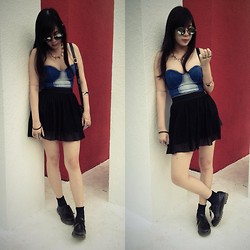 Lynette J. - Romwe Denim Bandeau Top, Romwe Tulle Skirt, Dr. Martens Boots, Romwe Gold Spike Necklace, Romwe Rounded Sunglasses - The way you rock that hip