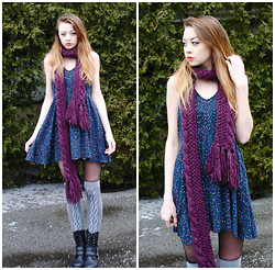 Megan Brigance - Urban Outfitters Scarf, Forever 21 Dress, Asos Overknee Socks, Deena & Ozzy Combat Boots - Monday, Monday