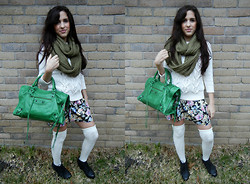 Melody Danian - Cotton On Green Infinity Scarf, Talbots White Cable Knit Sweater, Balenciaga Green Handbag, I Heart Ronson Floral Skirt, Blink Black Wedge Booties - Winter Florals
