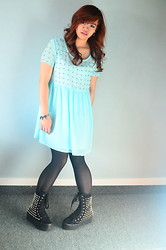 Nathalie May - Studded Mint Blue Skater Dress, Stockings, Jeffrey Campbell Lockness Spike - Minty Spikes and Studs
