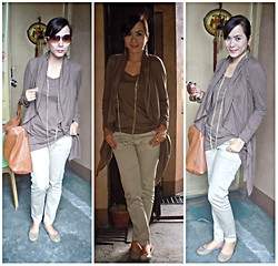Lowella rinna B. - Ichioku Brown Tops, Khaki Trouser, Gap Ballet Flats - In the Nude......