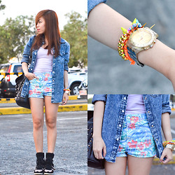 Kat M - Topshop Floral, Happyboon Neon Arm Candies - Mixed Media