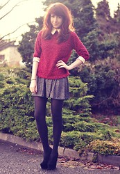Scotty Hollywood - Oasap Jumper With Collar, Asos Sparkle Skirt - Scarlet & Sparkle. -Oasap