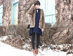 Caylee M. - Asos Coat, Sugarlips Dress, Target Tights, Coach Purse, Aldo Boots - New navy.