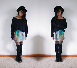 Jasmine S - Self  Made Galaxy Skirt, Dr. Martens Doc - Basic Space
