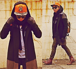 Denny Balmaceda - Zara Coat, Uniqlo Camo Pants, Embellish Ny Villain Snapback - New York Villain.