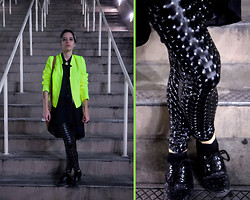 Daniela Nutz - A.N.A Neon Blazer, Forever 21 Long Sheer Button Down Top, Holographic Leggings, La Defensa Glitter Sneakers - Holographic