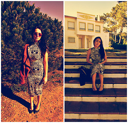 Katiuska Peixoto - Katiuska's Boutique Skull Midi Dress, Red Dragon Tan Studded Jacket, Zara Black Studded Stilettos - Skull eyes