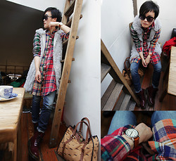 Wolfie Chen - Timex Original, Cube Sugar Shirt In Beigecrazy, Gap Skinny Jeans, Cooperative Tote, Dr. Martens Patent Cherry Boots - To my 20s