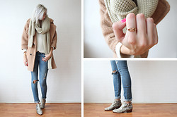 Sietske L - Oasap Scarf, Choies Coat, H&M Jeans, Romwe Infinity Ring, Sam Edelman Boots - Nude tones