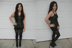 Melody Danian - Forever 21 Gold Collar Necklace, Urban Outfitters Peplum Top, Express Black Shorts, Blink Black Wedge Booties - Black and Gold