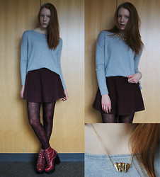 Quinn Bell - H&M Sweater, American Apparel Skirt, Jonathan Aston Tights, Jeffrey Campbell Tardy Boots, Oasap Teeth Pendant - Teeth Pendant&Baroque Tights