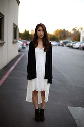 Yuri Lee - Alexander Wang Knit Sweater, River Island Lace Hi Low Dress - Black and white cat