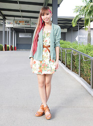 Esther Xie - Earthdoll Dustry Green Studded Blazer, Swv Floral Green - You Might As Well Forget My Name