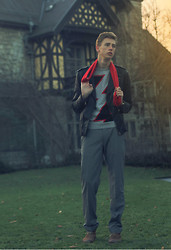 Oliver Lips - Scotch & Soda Leather Jacket, Longchamp Red Scarf, Msgm Sweater, Windsor Suit Pants, The Last Conspiracy Boots - Red scarf