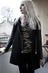 Zwillingsnaht . - Sheinside Leather Quilted Coat, Gina Tricot Camou Shirt - The mysterious noise
