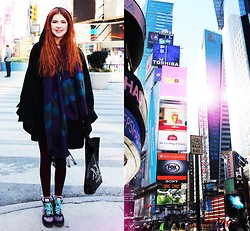 Ebba Zingmark - Coat, Sneakers, Romwe Scarf, Thights - TIMES SQUARE