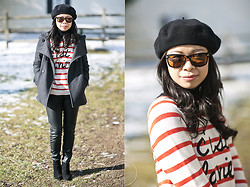 Melanie Y - Zara Swing Coat, H&M Pleather Pants, Sam Edelman Wilma Booties, Warby Parker Sunnies, Forever 21 Striped Sweater, Beret - Parisian Chic