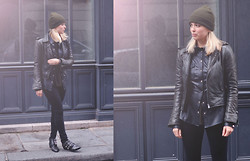 Liza Chloe - American Apparel Beanie, Balenciaga Leather Biker Jacket, Alexander Wang T Shirt, 7 For All Mankind Skinny Jeans, Sascha Studded Boots - MOSS GREEN