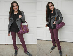 Melody Danian - Veda Leather Jacket, Nordstrom Black Lace Top, Marc By Jacobs Handbag, H&M Maroon Denim, Born Shoes Oxfords - Favorite Leather Jacket