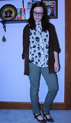 Amber M - Skull Top, Thrifted Chunky Knit Sweater - Chunky knit