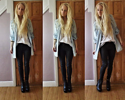 Holly Tomkins - Primark Denim Shirt, Leather Skinny Jeans, Ankle Boot Things - Casual and stuff
