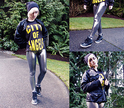 Kaydia Belle - Urban Outfitters Graphic Muscle Tee, Black Milk Clothing Liquid Silver Leggings, Armani Exchange Jacket, Ash Footwear Wedge Sneakers - Heaving through Corrupted Lungs