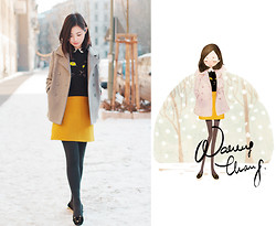 Nancy Zhang - Opening Ceremony Jumper, Charlotte Olympia Flats, Cos Skirt - Black cat addiction.