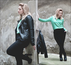 Evelyn ME - Abataba Peter Pan Collar, Vero Moda Jacket, H&M Knit, Tezénis High Waisted Pants, Even&Odd Boots - Lights