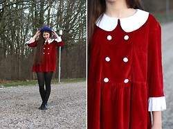 Moona S - Self Made Red Velvet Dress, H&M Blue Hat, Second Hand Men's Shoes - Red and naive