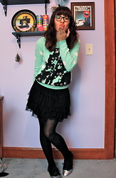 Amber M - Pretty Snake Craxy Kitty Sweater, H&M Tulle Skirt, Diy Painted Oxfords - Pretty Snake
