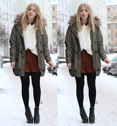 Joanna M - Vero Moda Parka, Monki Blouse, Monki Knit, Monki Suede Shorts, Jeffrey Campbell Shoes - 26 Jan
