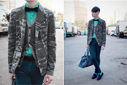 Edward Poon - Izzue Velours Bowtie, Zara Dotted Pocket Square, Uniqlo Stripped Cardigan, Zara Camo Blazer, Paul Smith Bag, H&M Leopard Slippes - CAMO