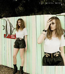 "Miss Scarlet ♥ - Good Art Leather Bands, Lovestrength Eagle Belt, Now I Style Faux Leather Shorts - ""Love U More than those bitches before.."""