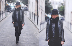 Liza Chloe - H&M Hat, Balenciaga Leather Biker Jacket, Bloomingdale's Knitted Scarf, Zara Burn Out T Shirt, Isabel Marant Wool Skirt, Wolford Tights, Dr. Martens Shiny Boots - I JUST HAT IT