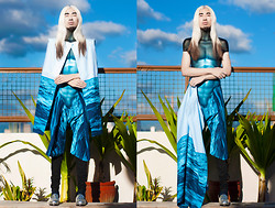 Andre Judd - H. Custodio S/S 2013 Cape With Ocean Print, H. Custodio S/S 2013 Torso Accessory, H. Custodio S/S 2013 Draped Shorts With Ocean Print - OCEAN ANCIENTS