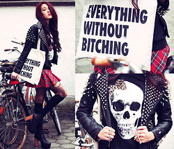 Alessandra Kamaile - Missguided Studded Leather Jacket, Souve Bag, Hearts And Bows Dress, Alice Takes A Trip Sweatshirt, Nelly Cross Ring - Everything without bitching.