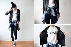 Sietske L - Minusey Jacket, Sheinside Sweater, Chic Wish Denim Shirt, Topshop Jeans, Converse Studded All Stars - Tie it on