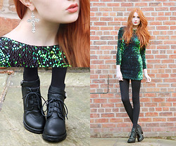 Olivia Emily - Regalrose Baroque Cross Earrings, Choies Sequinned Dress, Choies Lace Up Booties - Birthday Outfit.