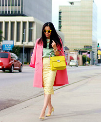 Hallie S. - Guess? Bag, Asos Skirt, Red Valentino Coat - Candy Lady