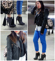 Karina - Gap Cobalt Skinny Jeans, Miss Selfridge Embellished Heels, Uniqlo Floral Shirt, Topshop Leather Biker Jacket, H&M Vinyl Look Jumper - Studs & Sparkles