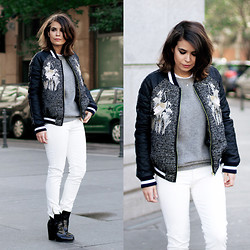 Sara E. - Three Floor Varsity Jacket, Zara White Jeans, Olive Clothing Gray Sweater, Zara Boots - Varsity Jacket