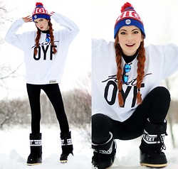 Ebba Zingmark - Offyourface Sweater, Off Your Face Hat, Moon Boot, Sunnies - Off Your Face