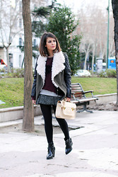 Sara E. - Pull & Bear Vest, Asos Gray Skirt, Stella Riitwagen Satchel Bag, The Brave Side Burgundy Cardigan, Zara Boots - Lined vest and satchel bag