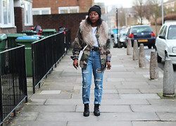 Remi Afolabi - H&M Fur Stole, New Look Camo Jacket, Monki Jeans, Urban Outfitters Boots - Camo.