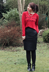 Charlotte Crowley - Vacant Clothing Jumper, Lavish Alice Leather Pencil Skirt, Clothing At Tesco Ankle Boots - Girl Next Door